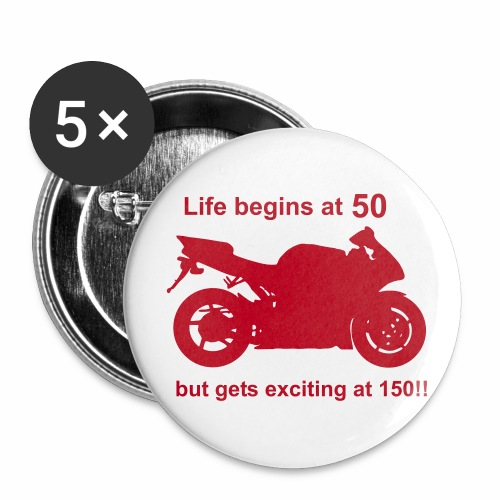 Life begins at 50 badge - Buttons large 2.2''/56 mm(5-pack)