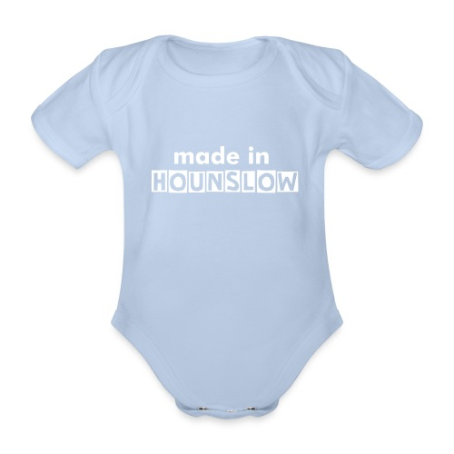 Made In Hounslow - white text - Organic Short-sleeved Baby Bodysuit