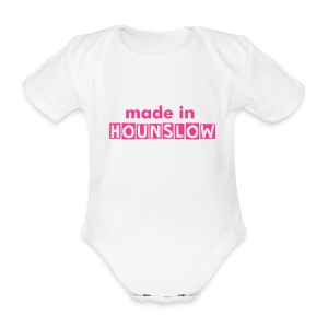 Made In Hounslow - neon pink text - Organic Short-sleeved Baby Bodysuit