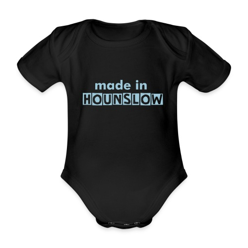 Made In Hounslow - sky blue text - Organic Short-sleeved Baby Bodysuit