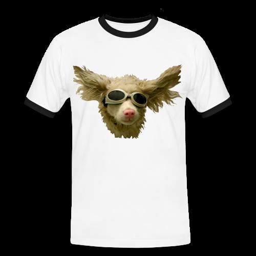 cool dog mit doggles - Männer Kontrast-T-Shirt