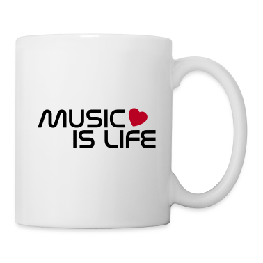 White music is life heart EN Mugs