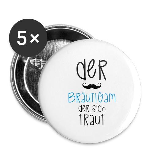 Der Bräutigam der sich traut mit Bart - Buttons klein 25 mm