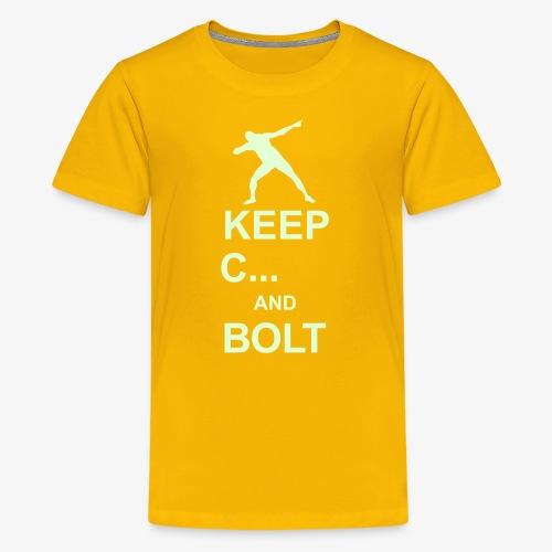 Keep Calm and Bolt - Teenage Premium T-Shirt