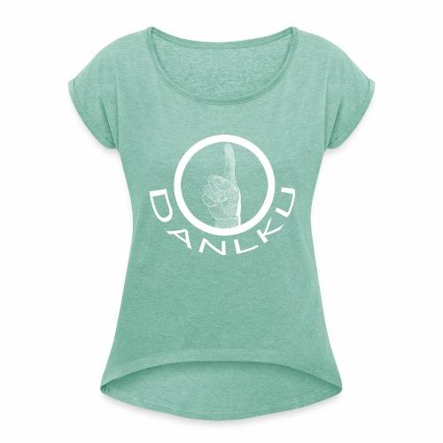 DANLKU - Tee-shirt Col rond femme - T-shirt à manches retroussées Femme