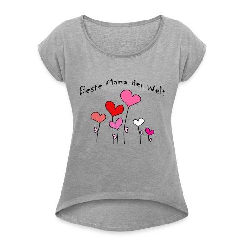 Beste Mama der Welt Herzblumen bunt - Frauen T-Shirt mit gerollten Ärmeln