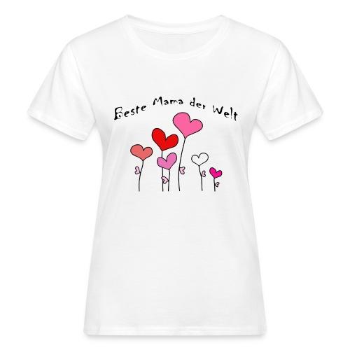Beste Mama der Welt Herzblumen bunt - Frauen Bio-T-Shirt