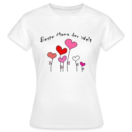Beste Mama der Welt Herzblumen bunt - Frauen T-Shirt