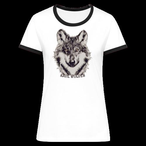 SAVE WOLVES - Frauen Kontrast-T-Shirt
