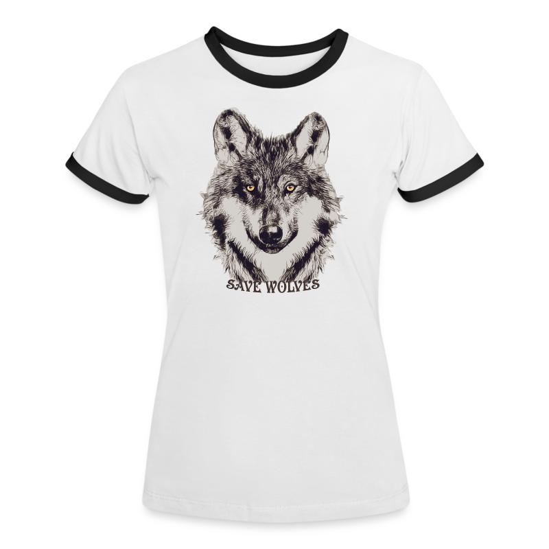 SAVE WOLVES - Frauen Kontrast-T-Shirt