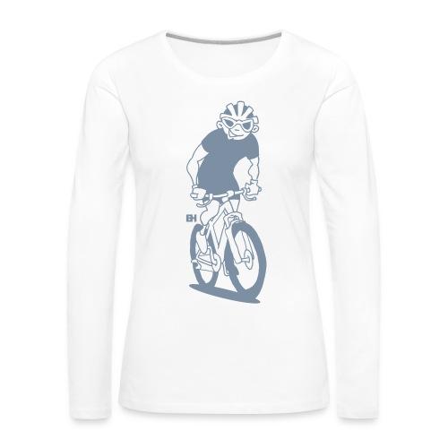 MTB - Un ciclista de montaña en su moutainbike Manga larga - Women's Premium Longsleeve Shirt