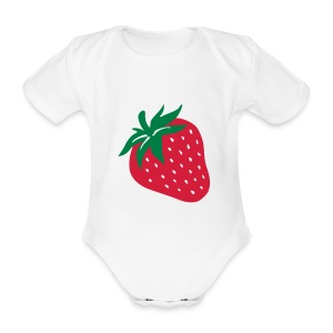 Strawberry Patch - Organic Short-sleeved Baby Bodysuit