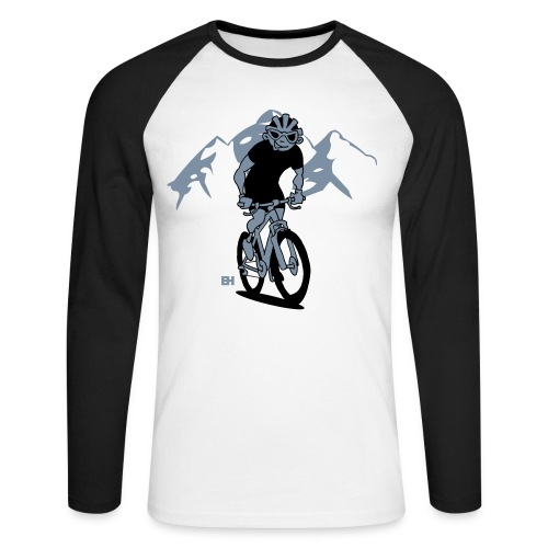 MTB - Ett berg cyklist på hans moutainbike Långärmade T-shirts - Men's Long Sleeve Baseball T-Shirt