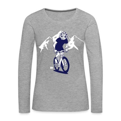 MTB - Ett berg cyklist på hans moutainbike Långärmade T-shirts - Women's Premium Longsleeve Shirt