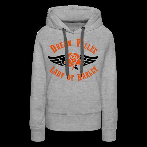 Sweat LOH Gris Logo Noir/Orange  - Sweat-shirt à capuche Premium pour femmes
