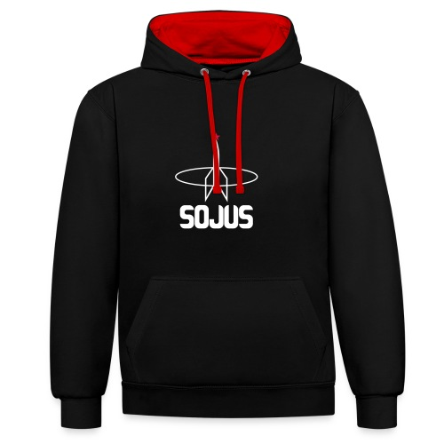 Black/Red unisex colour hoodie with Sojus logo - Contrast Colour Hoodie