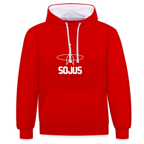 Red/White unisex colour hoodie with Sojus logo - Contrast Colour Hoodie