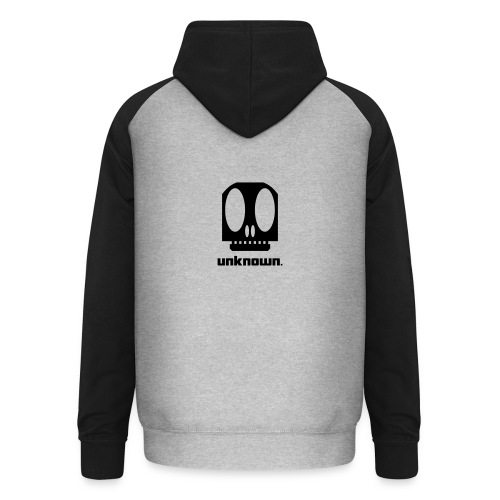 Grey/black unisex baseball hoodie with Unknown logo on the back - Unisex Baseball Hoodie