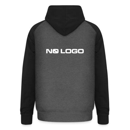 Grey/black unisex baseball hoodie with No Logo logotype on the back - Unisex Baseball Hoodie