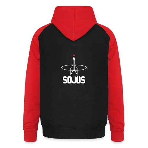 Black/red unisex baseball hoodie with Sojus logo on the back - Unisex Baseball Hoodie