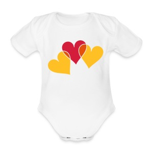 Baby One-piece Hearts - Organic Short-sleeved Baby Bodysuit