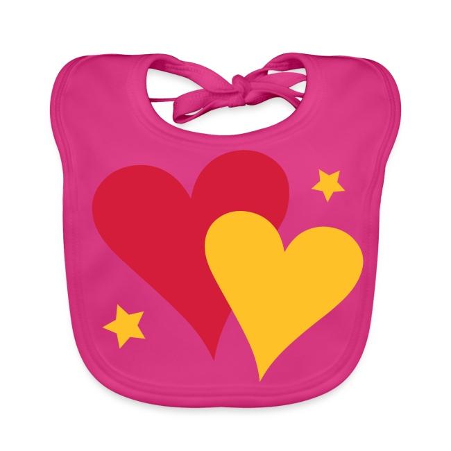 Baby Bib Pair of Hearts