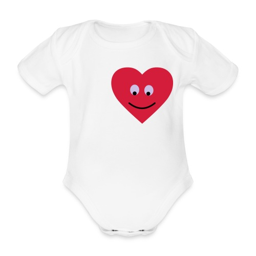 Baby One-Piece Happy Heart - Organic Short-sleeved Baby Bodysuit