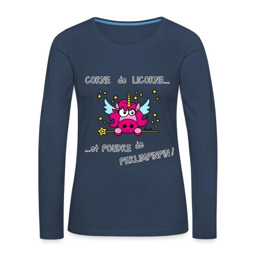 T-shirt ml Femme Licorne, Poudre de Perlimpinpin, magique - T-shirt manches longues Premium Femme
