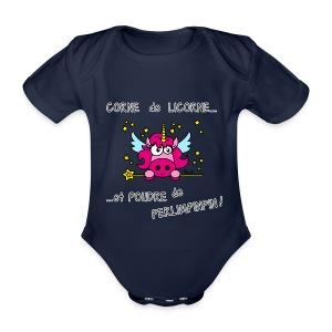 Body bebe fille Licorne, Poudre de Perlimpinpin, magique - Body bébé bio manches courtes