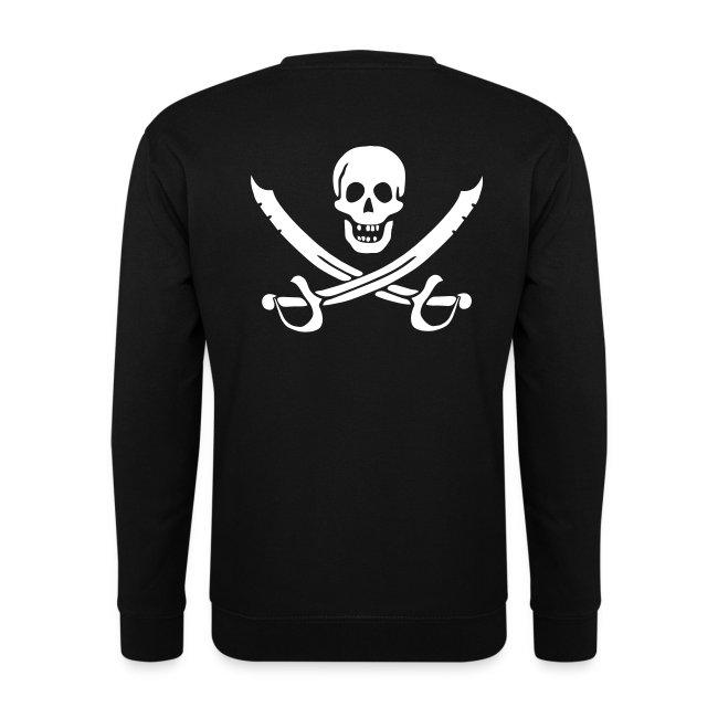 Piratenpullover Mann Weiß-Schwarz