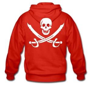 Piratenjacke Mann Weiß-Rot - Männer Premium Kapuzenjacke