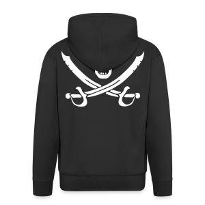 Piratenjacke Mann Weiß-Schwarz - Männer Premium Kapuzenjacke