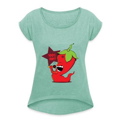 Red Chili Pepper - Vrouwen T-shirt met opgerolde mouwen