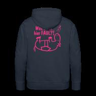 Pullover & Hoodies ~ Männer Premium Kapuzenpullover ~ Kapuzenpullover Was heißt hier FAUL?! navy-pink