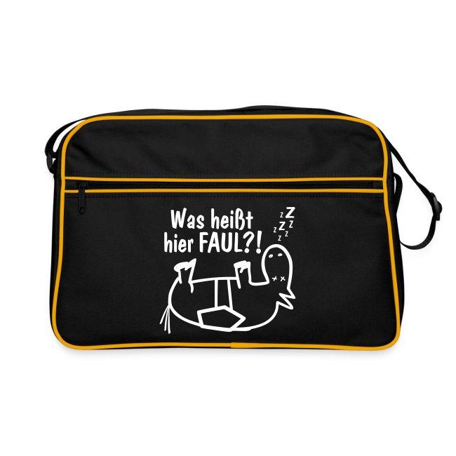 Retro-Pferde-Tasche Was heißt hier FAUL?! navy-weiß
