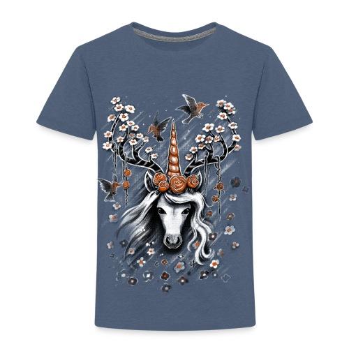 Deer Unicorn Flowers - Kids' Premium T-Shirt