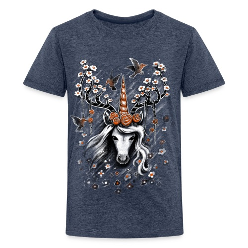 Deer Unicorn Flowers - Teenage Premium T-Shirt