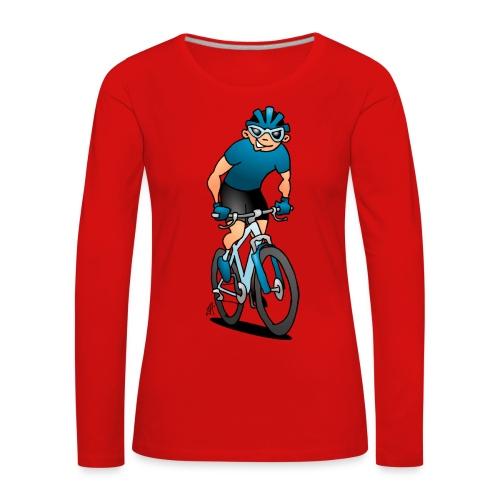 MTB - Pyöräilijä hänen moutain polkupyörällä Pitkähihaiset paidat - Women's Premium Longsleeve Shirt