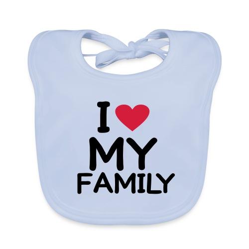 Hagesmæk dreng I Love My Family - Baby økologisk hagesmæk