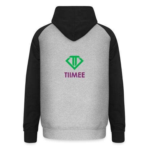 Black and grey hoodie with new green Tiimee logo - Unisex Baseball Hoodie
