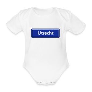 Utrecht (pas zelf de shirtkleur aan) - Baby bio-rompertje met korte mouwen