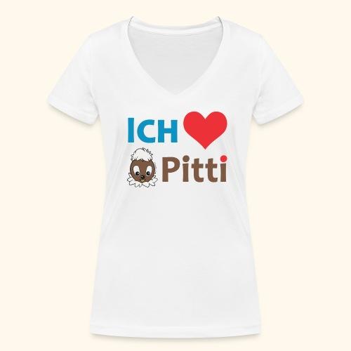Frauen T-Shirt mit V-Ausschnitt Ich liebe Pitti  - Frauen Bio-T-Shirt mit V-Ausschnitt von Stanley & Stella