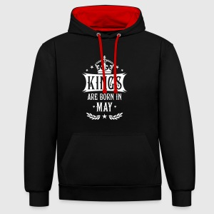 Kings are born in May Krone King Star Hoodie - Kontrast-Hoodie