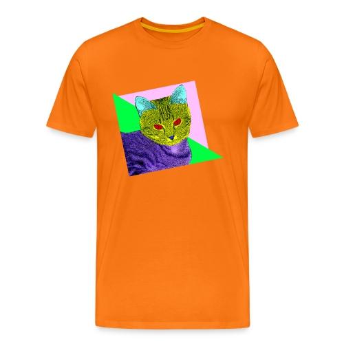 Premium T-skjorte for menn - katt,80s,80-tallet,80's