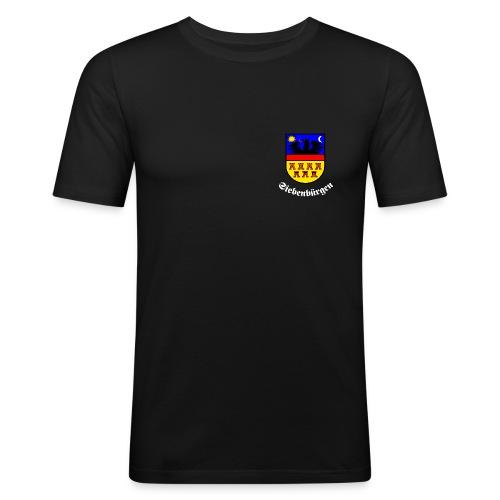 TShirt mit kleinem Siebenbürgen-Wappen auf der Brust - Männer Slim Fit T-Shirt