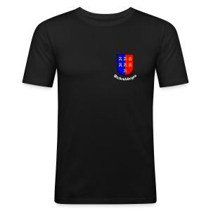 TShirt mit kleinem Sachsen-Wappen auf der Brust - Männer Slim Fit T-Shirt