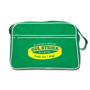 Retro skulderveske med «Slutt på gul strikk» - Retro veske