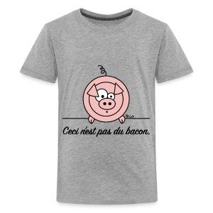 T-shirt P Ado Cochon Ceci n'est pas du Bacon Végan - T-shirt Premium Ado