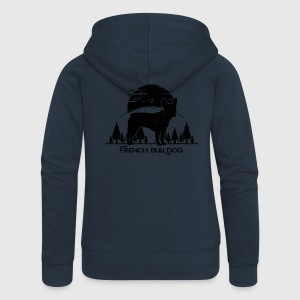 French Bulldog Forest Pullover & Hoodies - Frauen Premium Kapuzenjacke