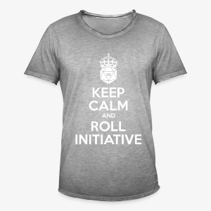 Keep Calm and Roll Initiative gray shirt - Mannen Vintage T-shirt